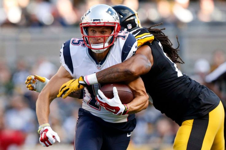 Patriots vs. Steelers:     October 23, 2016  -  27-16, Patriots  -    New England Patriots wide receiver Chris Hogan (15) is hit by Pittsburgh Steelers outside linebacker Jarvis Jones (95) to force a fumble during the first half of an NFL football game in Pittsburgh, Sunday, Oct. 23, 2016.
