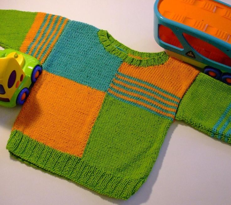 I designed this sweater for Alex.This pattern has been revised, updated and simplified. The look of the sweater has not changed!This sweater is designed to be knit flat and seamed.Feel free to use any dk yarn, not everyone likes to knit in cotton.The borders are knit in k2, p2 rib stitch.A=green, B=orange and C=turquoise, but the colour combinations are endless! The stripes on the sleeves are not set in gold, feel free to experiment and have fun.Twist yarn securely where colours met and…