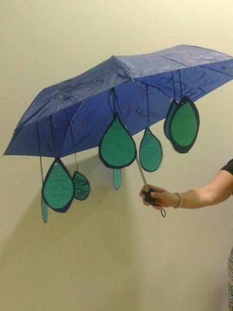 Afscheidscadeau van de klas voor de juf. Aju paraplu!