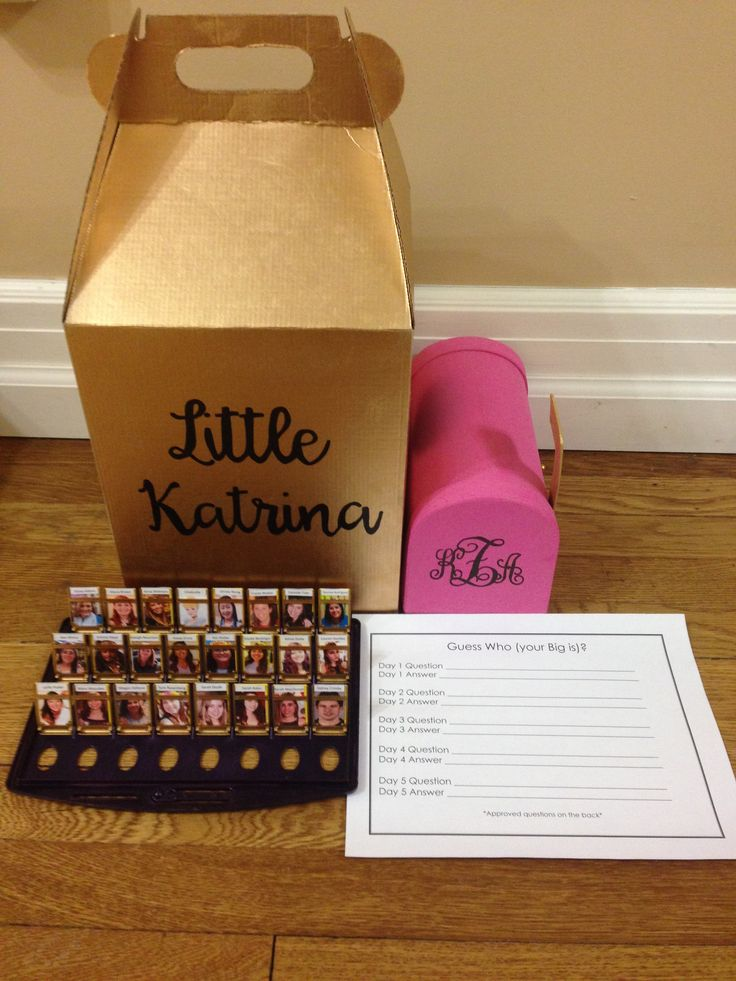 The complete set up for my little's clue week boxes.  Big, Little, Dphie, Delta, Phi, Epsilon, Sorority, Craft, Clue, Week, Box
