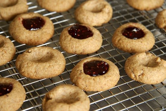 Whole Wheat Raspberry Almond Thumbprint Cookies