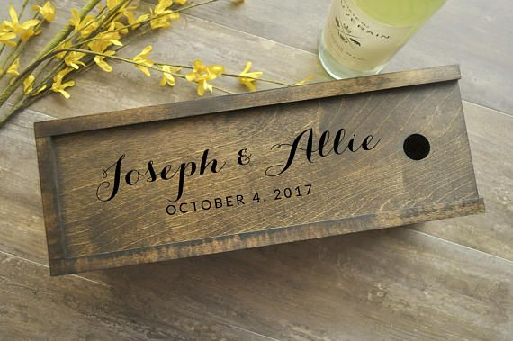 Wine Box, Dark Wood Wine Box, Walnut, Personalized Wine Box, Wedding Wine Box, Ceremony Wine Box, Anniversary Wine Box, Custom Engraved Wine Stunning personalized wine box ready for gift-giving! This wood wine box measures approximately 14 x 5 x 5 and holds a standard 750mL