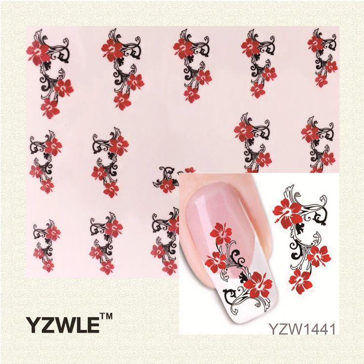 Yzwle 1 ورقة نقل المياه مسمار الفن ملصقات صائق الجمال لطيف مثير الأحمر الزهور انخيل تصميم diy الفرنسية مانيكير أدوات