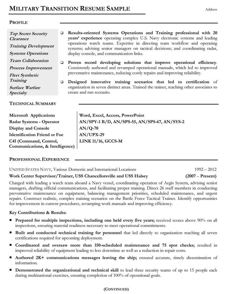 Veterans Resume templates, Resume examples, Federal resume