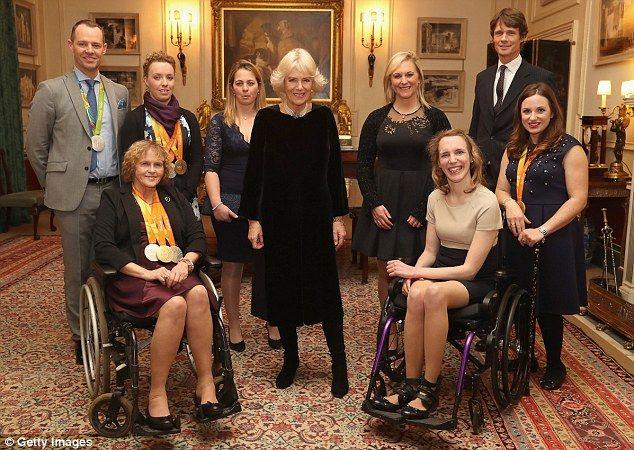 Celebration (left-right): Spencer Wilton, Anne Dunham, Sophie Wells, Kitty King, the Duchess of Cornwall, Gemma Tattersall, Sophie Christensen, William Fox Pitt and Natasha Baker