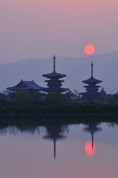 Sunrise in Yakushi-ji Temple, Nara, Japan
