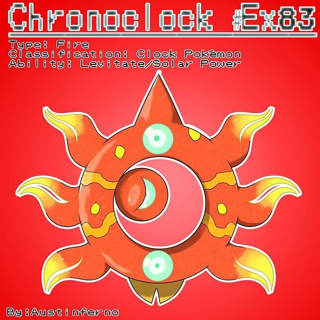 When a fire stone is used on Azisun during the day it'll evolve into Sunlight Chronoclock! It'll stand on tops of hills and mountains to get full exposure to sunlight! As time passes its middle segment will rotate around its inner body representing the time of day. It's eye will close upon dusk. Stats: Hp- 100 Speed- 60 Att- 79 Sp.Att- 100 Def- 80 Sp.Def- 80 Total= 499 #pokemon #pokemonart #pokemondrawing #fakemon #fakemonart #pokedex #new #sundial #time #clock #sun #moon #chrono #drawing…