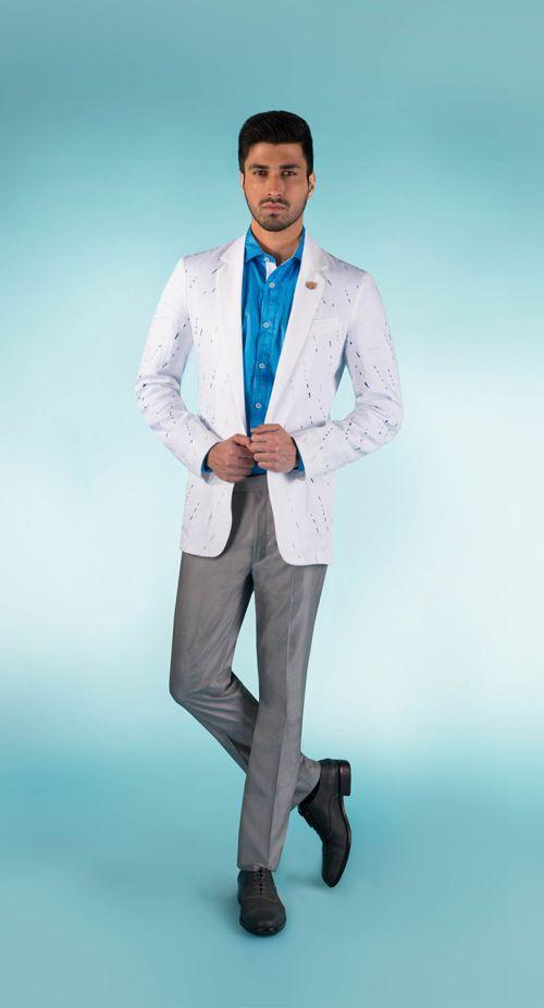 SS HOMME White cotton shirt jacket with lazer cutwork.  #summercruise #summerresort #shirtjacket #cutwork #glide