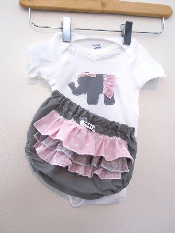 Bubble Gum Elephant  ruffle diaper covers gift set by RaeGun