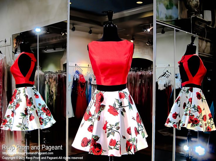 Gorgeous red two-piece with an open back and a printed floral skirt! and it's at Rsvp Prom and Pageant, your source for the HOTTEST Prom and Pageant Dresses!