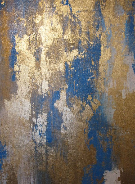 Blue Gold White Contemporary Abstract Painting by ArtByCornelia, $358.00