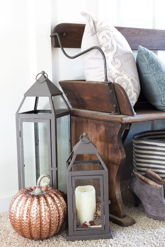 Rustic Glam Fall Entryway | blesserhouse.com - How to style a rustic glam fall entryway using reclaimed wood, farmhouse decor, metallic elements from Pier 1 Imports. #sponsored