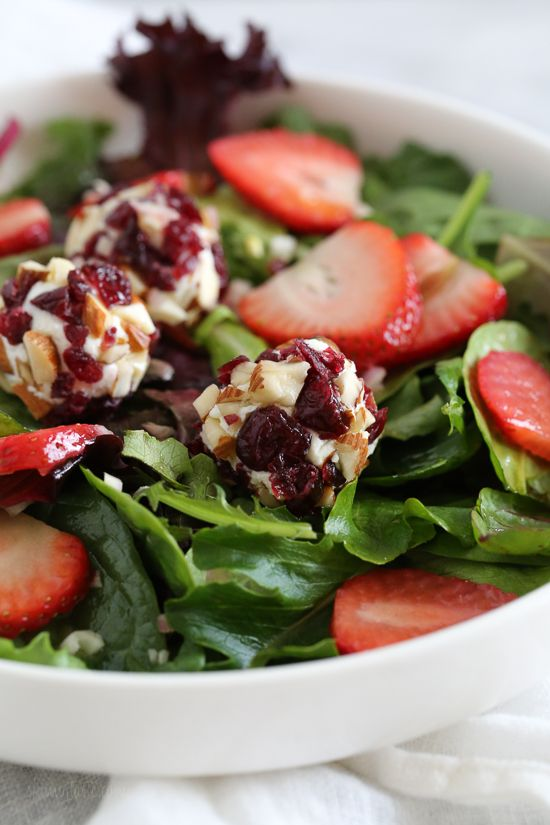 Berry Salad with Almond-Cranberry Crusted Goat Cheese   Skinnytaste