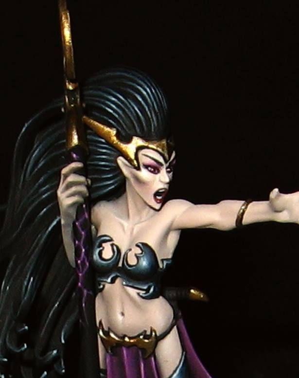 Warhammer FB | Dark Elves | Dark Elf Sorceress close-up #warhammer #ageofsigmar #sigmar #wh #whfb #gw #gamesworkshop #wellofeternity #miniatures #wargaming #hobby #fantasy
