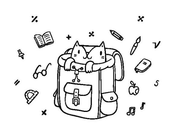 Simple Design Backpack Coloring Pages Simple Design