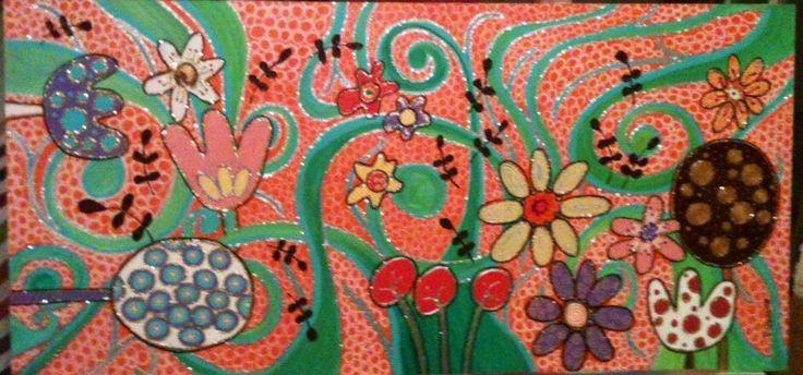 Mundo de Flores acrílico sobre madera de 70 x 35 Vendido