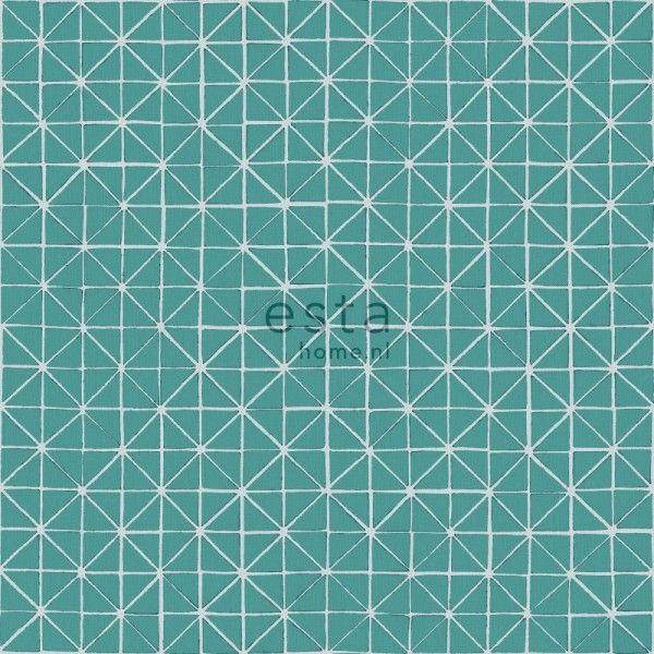 krijtverf eco texture vliesbehang geometrische vormen donker aqua groen