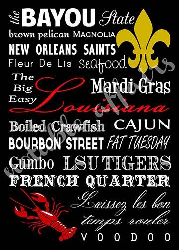 Louisiana Cajun Typography Word Art Print Where I come from