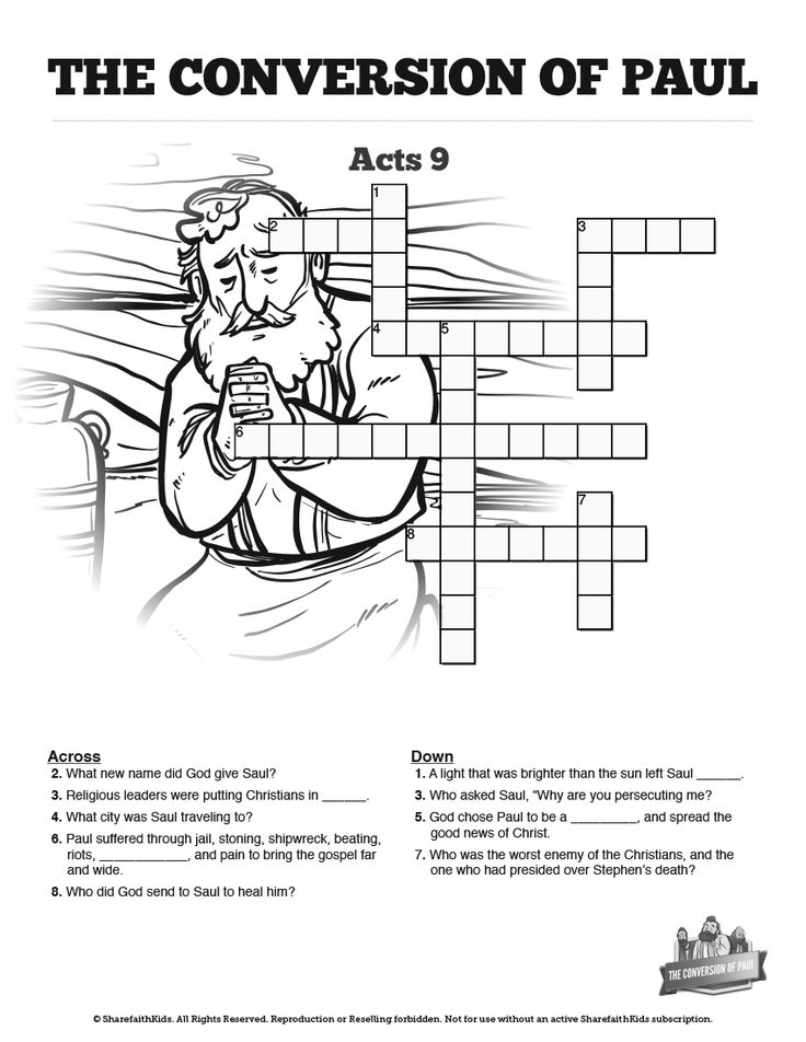 Acts 9 Paul's Conversion Sunday School Crossword Puzzles: Fun for kids and an incredible learning resource, this Paul's conversion activity is perfect for your upcoming Acts 9 Sunday school lesson. You're going to love watching your kids search their Bibles to find answers about Saul, Paul, the road to Damascus, and Acts 9.
