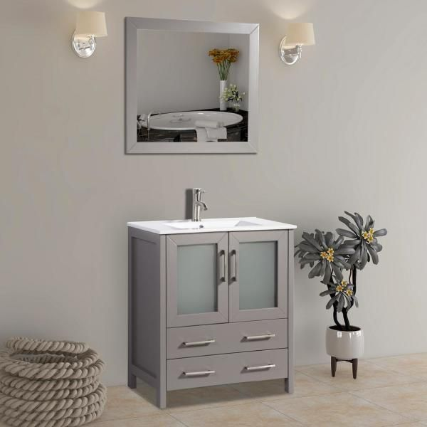 Vanity Art Brescia 30 In W X 18 In D X 36 In H Bath Vanity In Grey With Vanity Top In White With White Basin And Mirror Va3030g The Home Depot