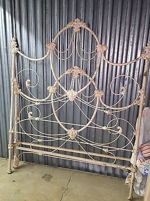 Antique-Ornate-Wrought-Iron-Double-Bed-Complete-with-Rails