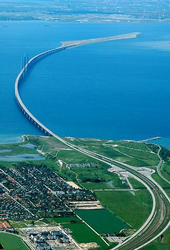The Oresund Bridge, connects Copenhagen - Malmo,