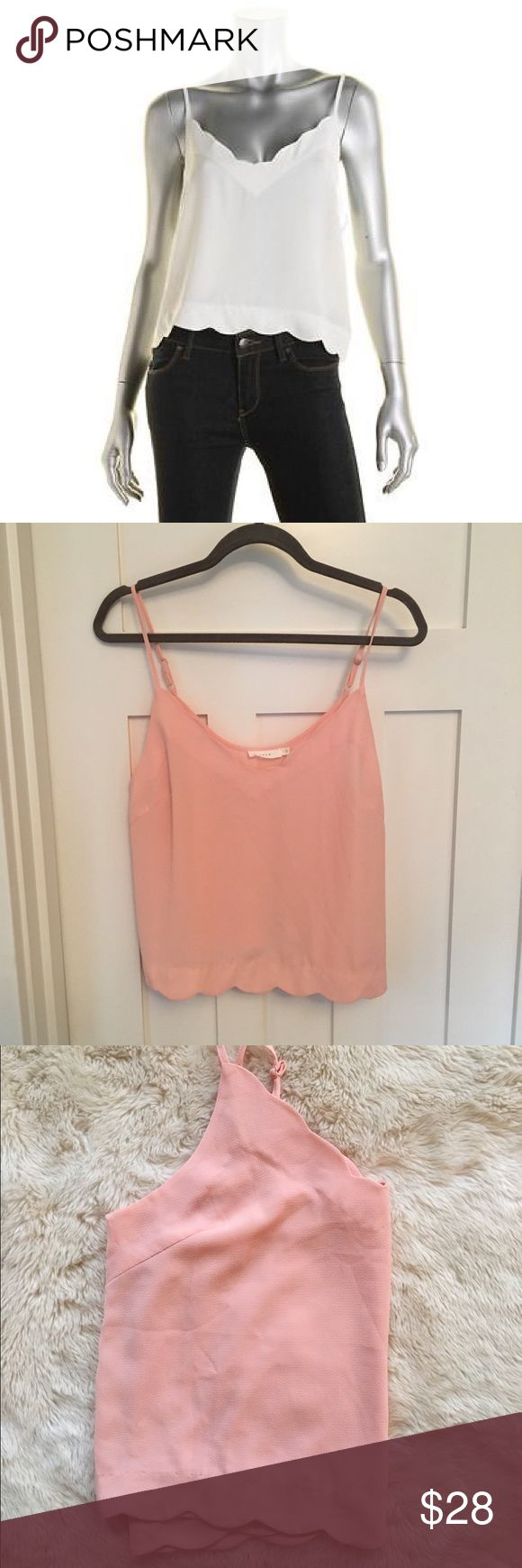 """Lush Pink Crepe Crop Top Adorable Light Pink Crepe crop top by Lush from Nordstrom. Scalloped hem and adjustable straps. NEVER WORN, excellent condition! 95% polyester 5% elasthanne. *note that stock photos are not actual color. Length (from where strap connects to bottom hem): 17.5"""" Bust (arm pit to arm pit): 20"""" Nordstrom Tops Crop Tops"""