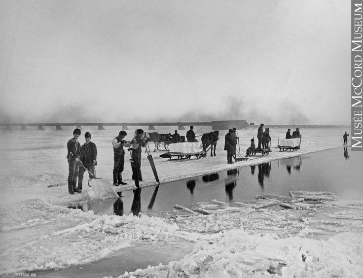 Découpage de la glace sur le fleuve Saint-Laurent à Montréal, QC, vers, Alexander Henderson, vers 1870, 19e siècle // Ice cutting, St. Lawrence River at Montreal, QC, Alexander Henderson, about 1870, 19th century