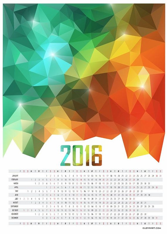 Calendar 2016 Printable. A3, A4, Letter size. Office calendar, Geometric calendar, Abstract Wall Calendar, Large Calendar poster