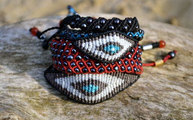 Hand-knotted, macrame evil eye friendship bracelets by Coco Paniora Salinas of Rumi Sumaq