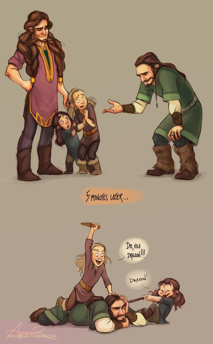 Five minutes later by ancalinar. Fili and Kili meeting Thorin for the first time.