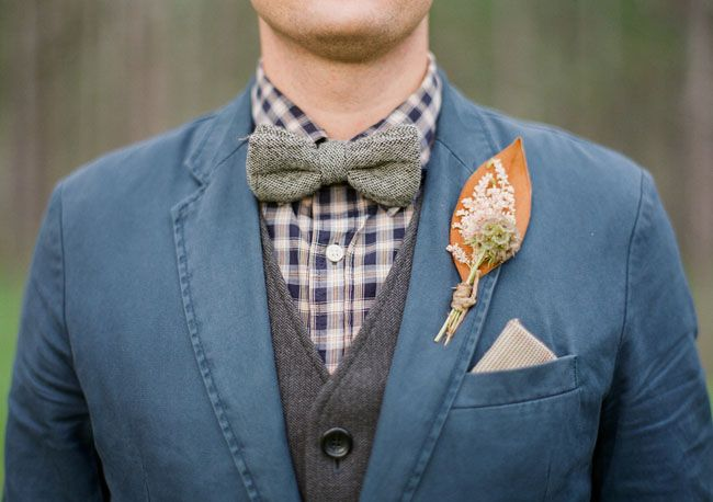 Rustic Fall Wedding Inspiration - tweed and wool for the groom and a dried foliage buttonhole