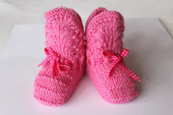 Baby Girl Gift Baby Girl Clothes Pink Baby Booties by Pinknitting