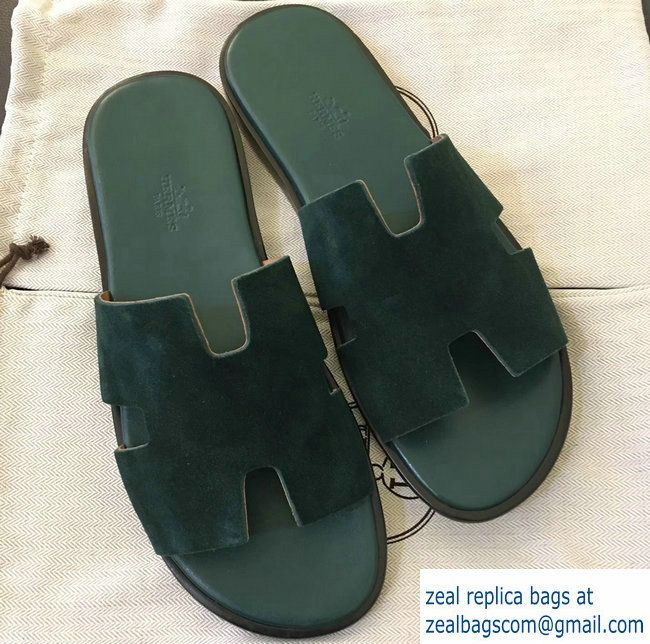 Hermes Izmir Men S Slipper Sandals In Suede Calfskin Green