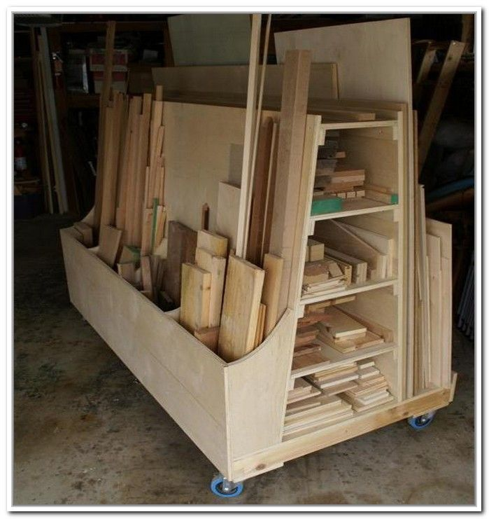 Rolling lumber storage rack woodworking projects plans for Rolling lumber cart plans