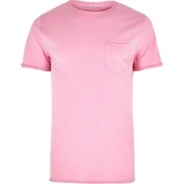 River Island Pink slim fit raw cut pocket T-shirt ($13) ❤ liked on Polyvore featuring men's fashion, men's clothing, men's shirts, men's t-shirts, pink, mens short sleeve shirts, mens two pocket short sleeve shirts, mens slim fit t shirts, mens pink t shirt and j crew mens shirts