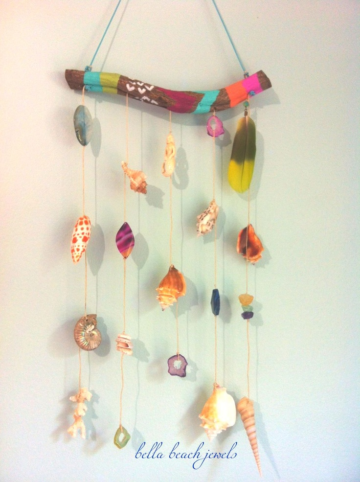 Painted Driftoowd MERMAID MOBILE! I added Coral found in Costa Rica, Shells, Agate, Druzys, Pukas and a Lime Green Parrott feather! BELLA BEACH JEWELS  www.Facebook.com/BellaBeachJewels  www.BellaBeachJewels.com