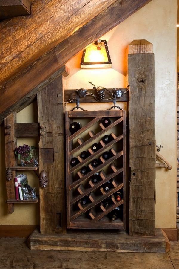 DIY wooden wine racks rustic wine cellar ideas old beams