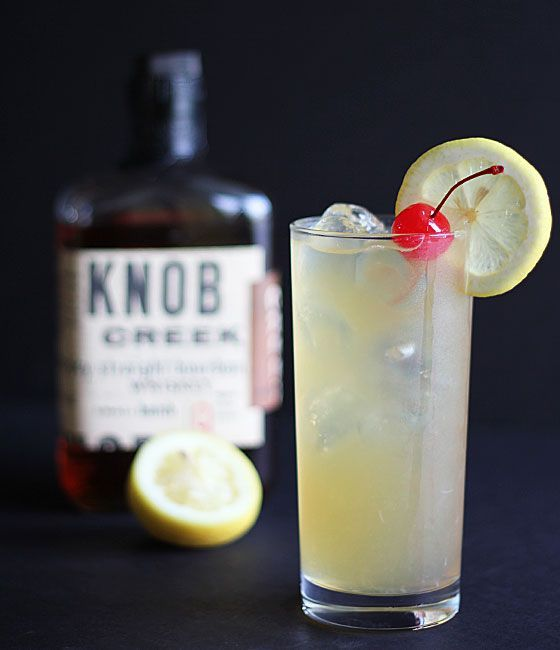 Bourbon Lemonade Cocktail  Ingredients  1 part bourbon whiskey (I used Knob Creek) 2 parts lemonade 1 part triple sec Optional garnish: lemon slice and maraschino cherry Instructions  Mix all ingredients in a glass over ice. Garnish with lemon slice and maraschino cherry, if desired.