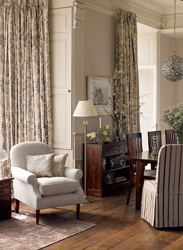 Laura Ashley ... love the floor to ceiling drapes !!!