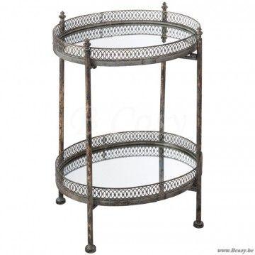 J-Line Ovale bijzettafel met 2 niveaus in glas en antiek goud metaal 50