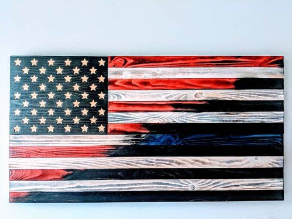 Thin Blue Line Rustic Wooden Police Officer Flag Gift Patriotic American Flag Blue Line Wood Flag Woo American Flag Blue Line Wood Flag American Flag Wood