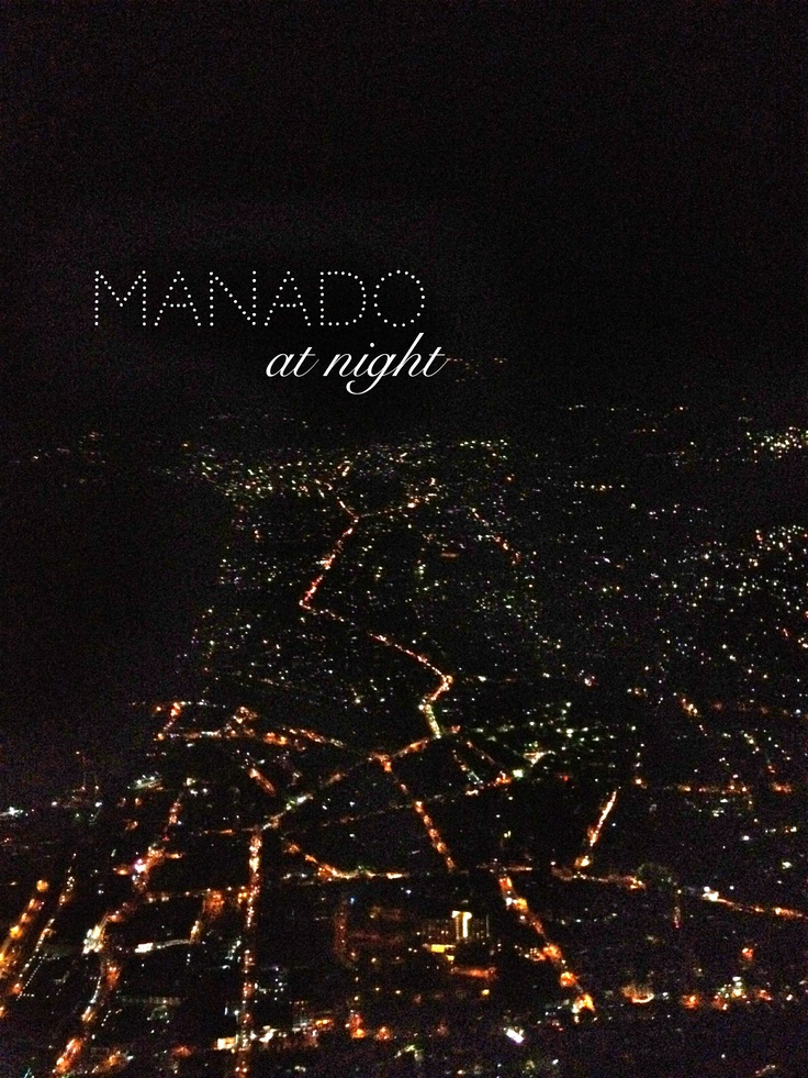 Manado at night from the plane...
