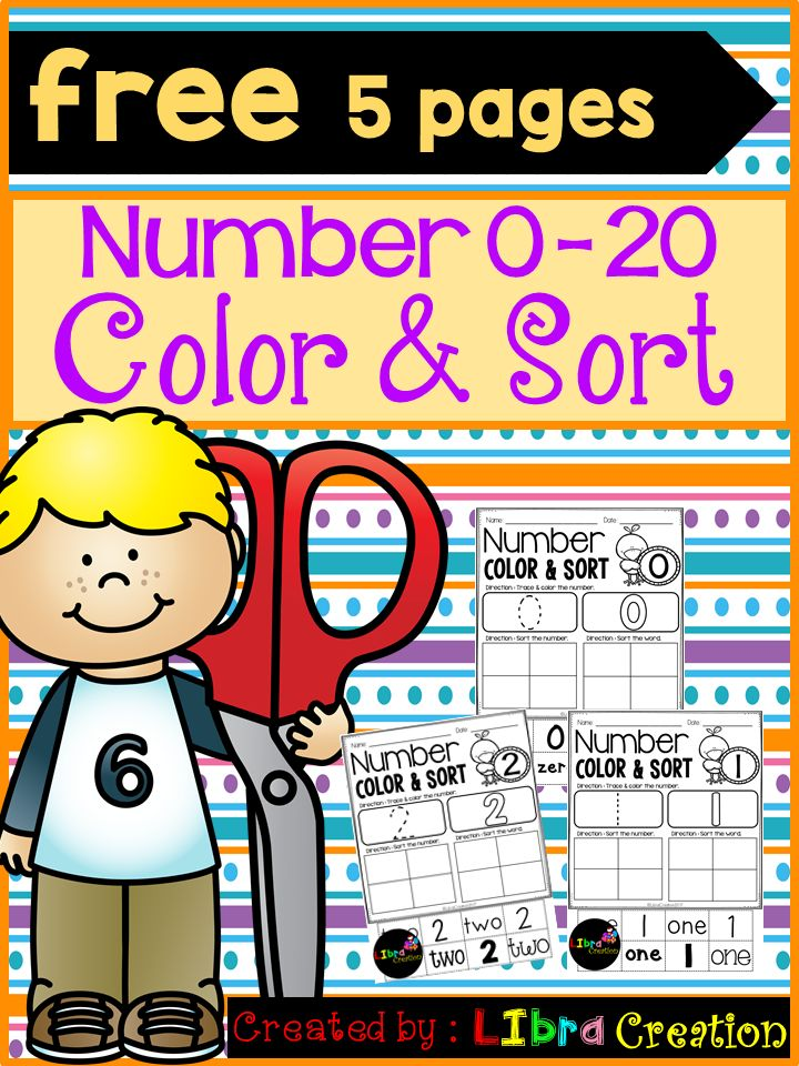 Free 5 Pages!!!  This product will teach your little learner to learn the numbers. They will learn how to trace the number, color the number, and sort the number & the word number.  Preschool, Preschool Worksheets, Kindergarten, Kindergarten Worksheets, Number, Number Writing Practice, Number Trace & Color, Number Color & Sort, Number Count & Match, Number Activities, Number Worksheet.
