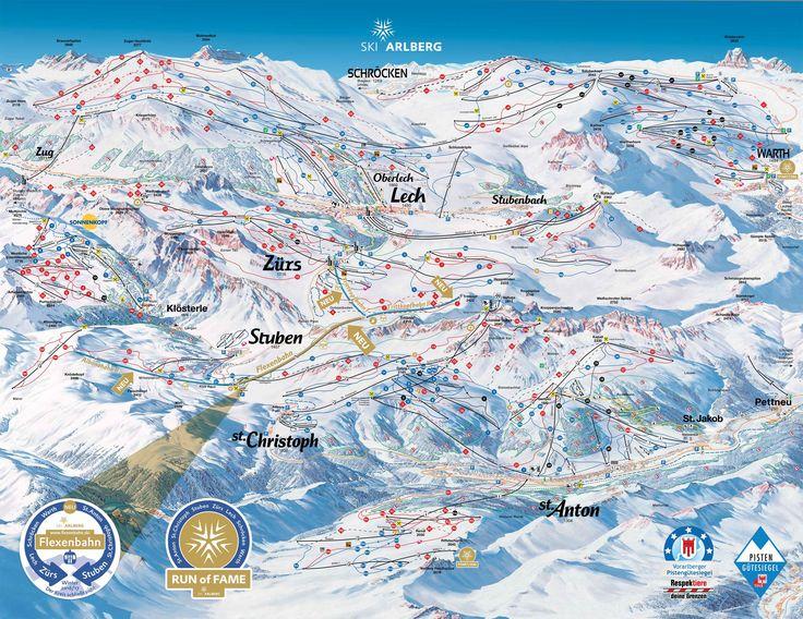 Wo fährt man am besten Ski in St. Anton am Arlberg? Auf Skiinfo findest du die Skigebietskarte von St. Anton am Arlberg
