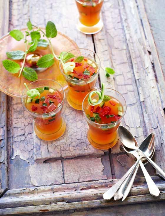 Pimm's jellies. Light, summer dessert recipe.