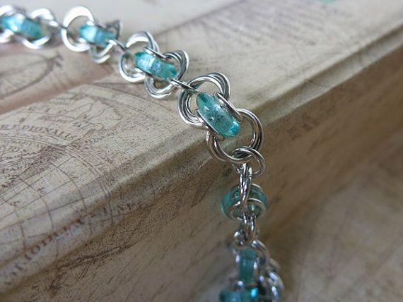 Seafoam Glass Chainmaille Bracelet - Seafoam Beaded Bracelet