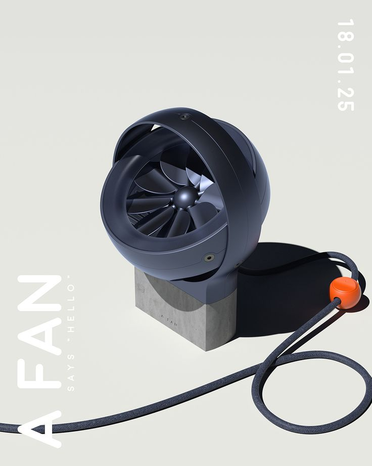 """A FAN"" is a concept desk fan created for the #blowingwithcs community design challenge hosted by Creative Session. A Fan was modeled in Fusion 360 and rendered with Octane Render for Cinema 4D."