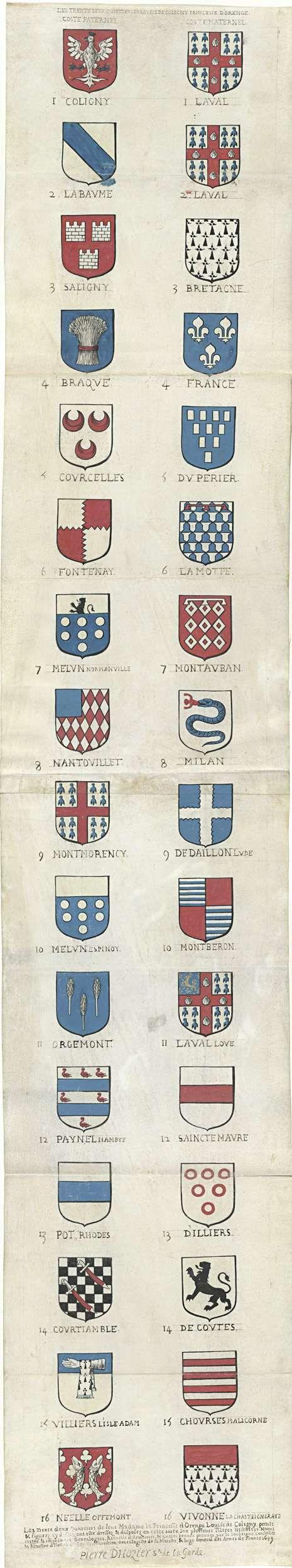 Pierre d'Hozier | De 32 kwartieren van Louise de Coligny, Pierre d'Hozier, 1649 | De 32 kwartieren van Louise. Links de zestien kwartieren van haar vaders zijde. Rechts de zestien kwartieren van haar moeders zijde.