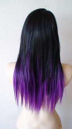 long dark brown hair with purple streaks - Google Search
